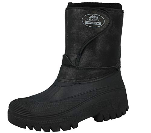 Groundwork New Mens Ladies Unisex Black Horse Riding Yard Water Resistant Stable Walking Rain Snow Winter Ski Wellies Wellington Warm Farm Mucker Boots UK 4-12