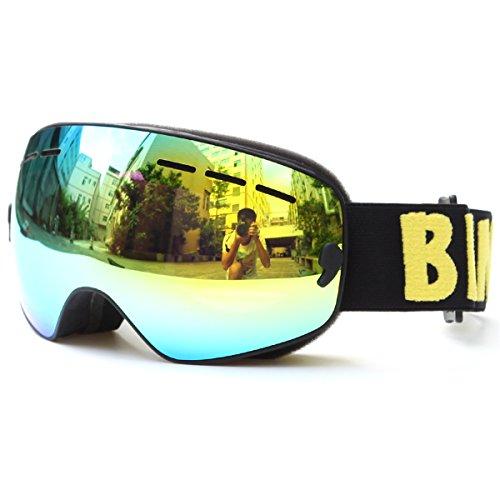 Huntvp® Skibrille Kinder Professional Snowboard Goggles Atmungsaktive Schneebrille Unisex Snowboardbrille Sphärische Linse Unisex Lens UV-Schutz Anti-Fog