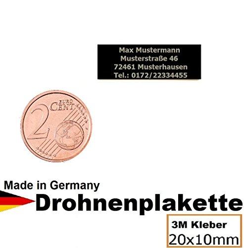 Preisvergleich Produktbild Micro Alu Elox Modellflugschild 20x10mm mit hochwertiger Lasergravur inkl. stark haftendem 3M Klebestreifen / Fluggerätekennzeichnung / Drohnen-kennzeichen / Adressschild / Modellflug / Plakette Aluminium / Kennzeichen / Drohnenschild