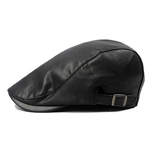 DOLDT1 Unisex PU de Cuero Ajustable Tapa Plana clásico Color sólido Pato Hiedra Vendedor de periódicos Gatsby irlandés Sombrero Boina de Moda (Color : 1, Size : Free Size)