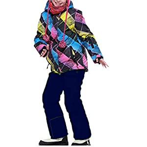 OMSLIFE Mädchen Kinder Skianzug Skijacke Regenlatzhose Verdickung Schneeanzug Jacket Skianzüge Kinder Schneeanzug Lang Jacket Skihose Wintermantel Skianzug