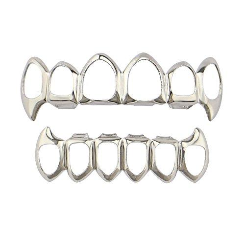 JYJM❤️ 1 Stücke Hip Hop Zähne Grillz Oberen Und Unteren Mund Zähne Grills Mode Removable Teeth Whitening Pen Kit Zahnweißstift für Zuhause Schmerzfrei Nebenwirkungen Zahnaufhellung (Silver)