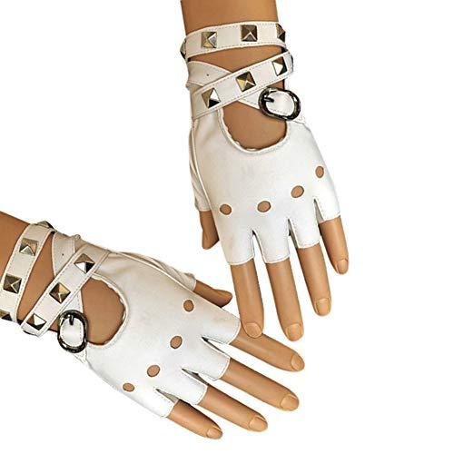 ROKOO 1 Paar Halbfinger PU Leder Handschuhe Rock Punk Style Niet fingerlos Motorrad Handschuhe, weiß - Leder Handschuhe Rot Fingerlose
