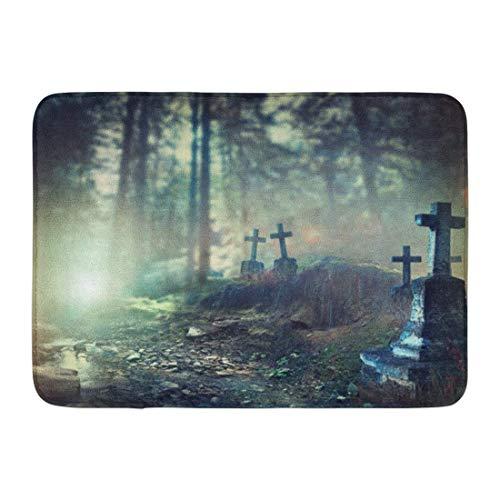 artyly Anti-Rutsch-Fußmatten für drinnen und draußen, für Halloween, Nebelfriedhof bei Nacht, Alter gruseliger Friedhof im Mondlicht durch die Bäume langlebig, 60 x 40 cm (Machen Sie Einen Halloween-friedhof)