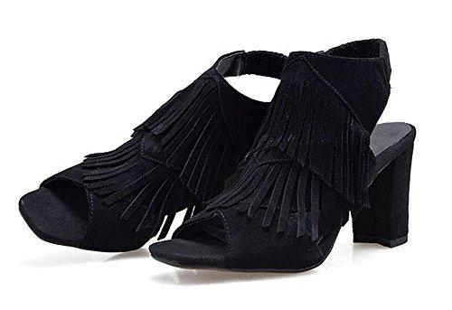 GLTER Frauen Peep Toe Knöchelriemen Pumps High Heels Weibliche Matt Leder Quaste Sandalen Maultiere Black