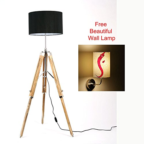 Free Wall Lamp with Handcrafted Black Shade Dark Brown Natural Finish Wooden Tripod Floor Lamp