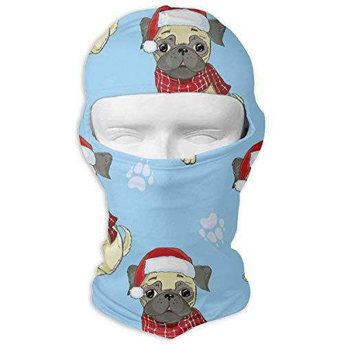 Wfispiy Volle Gesichtsmaske Mops Hund in Santas Hut und Vektor Taktische Frauen und Männer Bandana Stirnband Headwear
