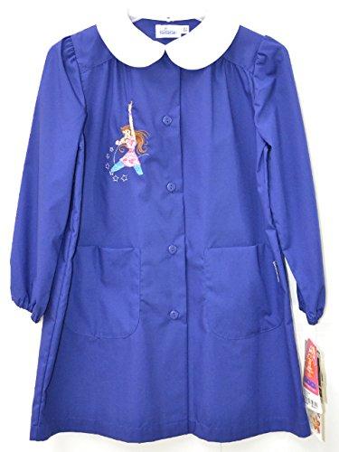 SIGGI grembiule scuola femminile blu ricamo cantante,taglie dalla 65 all'85 (122 cm)