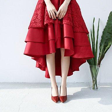 Talloni delle donne Primavera Estate Autunno Inverno Wedding sintetica di feste ed abito da sera con paillettes tacco a spillo rosa-rosso del nastro dell'oro Gold