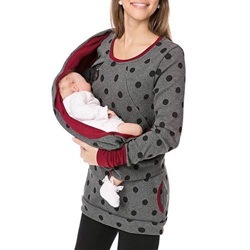 Maternity Sweatshirt Pullover Top Stillen Mutterschaft Frauen schwanger Hoodie Weiches Umstandsmode Damen Langarm (Dunkelgrau,M) ()