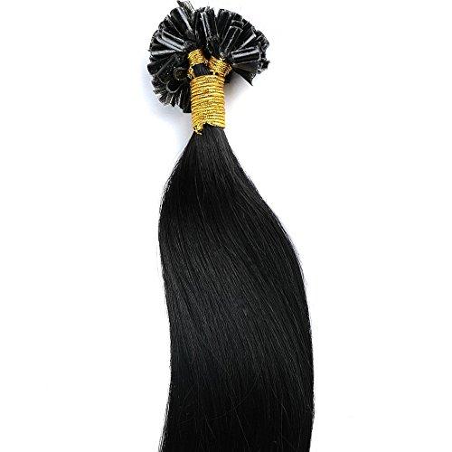 45cm 100g remy extension capelli veri con cheratina allungamento 100% human hair u-tip, 200 ciocche - 01# jet nero
