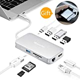USB C Hub, DesertWest 9 Ports Multifunktions Typ C Adapter (USB-C + 4 Ports USB 3.0 + 4K HDMI + SD/TF-Kartenleser + Gigablit Ethernet RJ45) für MacBook, Huawei MateBook und Mehr Type-C Geräte