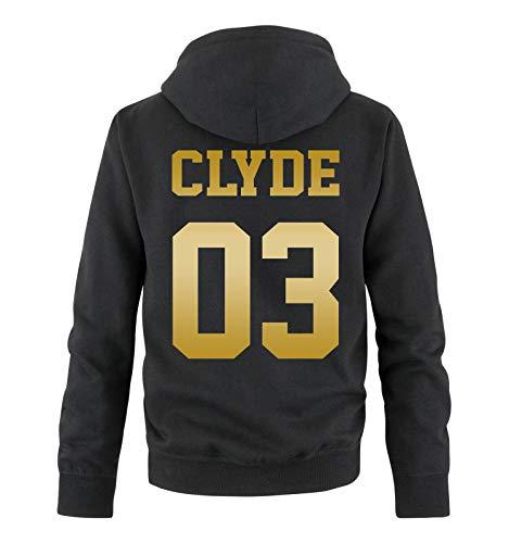 Comedy Shirts - Clyde 03 - Herren Hoodie - Schwarz/Gold - Gr. XXL Schwarz-gold-tv-serie