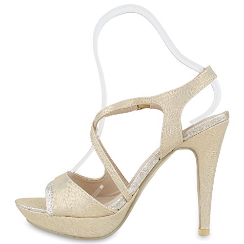 Elegante Damen Sandaletten | High Heels Sation-Optik | Glitzer Metallic Brautschuhe | Party Schuhe Animal Print | Plateauschuhe Schleifen Muster | Abschlussball Gold Muster