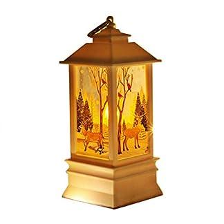 Goefly Luz de Vela LED de Navidad, Luces nocturnas Lámparas de té con Velas Muñeco de Nieve de Navidad Decoración de Linterna de Ciervo Fiesta de Navidad Decoración de lámpara de candelabro