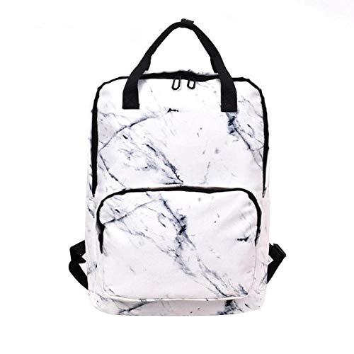 Onemoret grande capienza zaino femmina unisex con marmo tela zaini per ragazzi ragazze borse marmorizzazione zaino da scuola, bianco