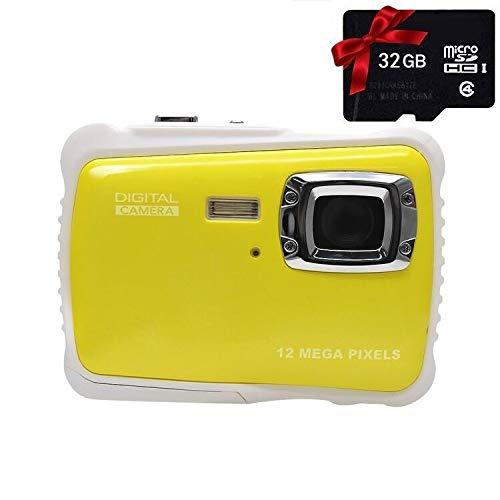 rbideli Wasserdicht Digital Kamera mit 4x Digital Zoom 2Zoll LCD 12MP HD Video Unterwasser Camcorder für Kinder (gelb) 12 Mp Digitaler Video -