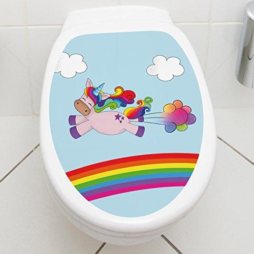 Wandkings WC Deckelaufkleber – Wähle ein Motiv – Einhorn Fart – 30 x 40 cm