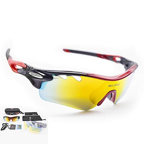 DUBAOBAO Sport Sonnenbrille Für Männer Und Frauen Polarisiert, 5 Austauschbare Objektive UV400 Schutz Angeln Fahren Laufen Golf-Bike-Brillen-Rot