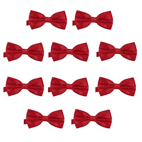 DonDon Lot de 10 Noeud papillon pour homme 12 x 6 cm avec crochet déjà lié et réglable, Rouge Foncé, Taille unique