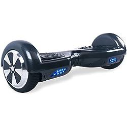 """BEBK Hoverboard 6.5"""" Patin Electrico,2 * 350W Motor LED, batería de Litio y autonomía DE 12 Km/h,Scooter eléctrico Self-Balance (Carbón)"""