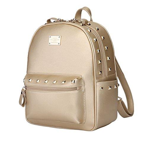 DISSA VS804 neuer Stil PU Leder Deman 2018 Mode Rucksackhandtaschen,250×135×310(mm) Gold
