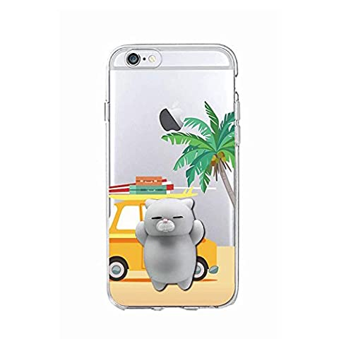 Squishy 3D Animal Cat Chat iPhone 5s Coque, Cute Stress Silicone Fun Case for iPhone 5s / iPhone 5 (Color-A)