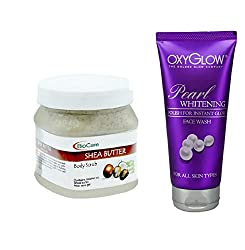 Oxyglow Pearl Whitening Face Wash, Biocare Shea Butter Body Scrub 500ml