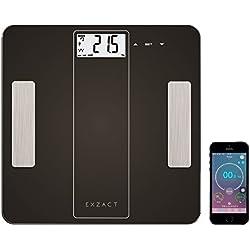 EXZACT - Bilancia Smart per l'Analisi Corporea/ Pesapersone Digitale / Elettronica Bilancia da bagno - Bluetooth 4.0 per Smartphone (iPhone iOS) - grasso corporeo / idratazione / muscoli / ossa - 180 kg / 400 lb (Nero)