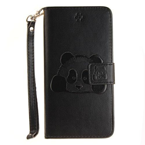 """Für iPhone 7 Plus 5.5"""" Gurt Strap Magnetverschluß Ledertasche Hülle,Für iPhone 7 Plus 5.5"""" Premium Seil Leder Wallet Tasche Brieftasche Schutzhülle,Funyye Stilvoll Jahrgang [Niedlicher reizender Panda Panda,Schwarz"""