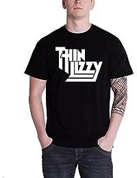 Thin Lizzy T Shirt Classic Band Logo Homme nouveau officiel Noir