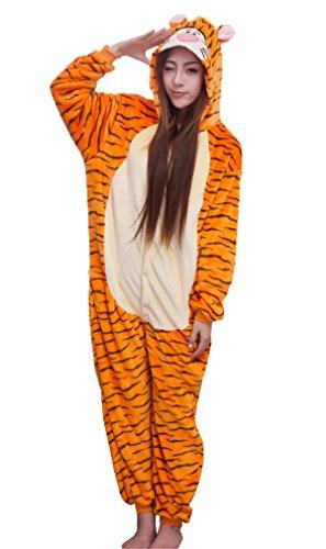 Haroty Unisex Adulto tigre Pigiama con cappuccio Camicie da Notte Cosplay Halloween Costume Animale flanella Pajamas Tuta (S)