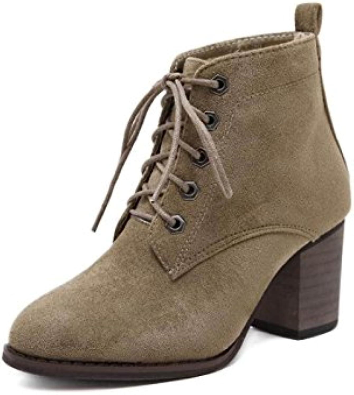 JSHOE Para Mujer Ante Botines De Moda Bota Corta Calzado De Invierno Zapatos De Tacón Alto Sexy Cálido,Apricot... -