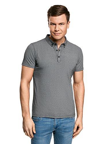 oodji Ultra Herren Poloshirt mit Feinem Muster und Knopfen Am Kragen Grau (2910G)