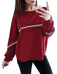 VJGOAL para Mujer de otoño Informal de Manga Larga Suelta de Color sólido de la Moda Sudadera Pullover Tops Blusa