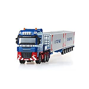 Hugine 1:50 Container Truck Low Bed Transport Vehicle Truck Goods Wagon Lorry Alloy Diecast Model Blue
