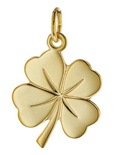 trendor Glücksanhänger Kleeblatt 585 Gold 18 mm 08608