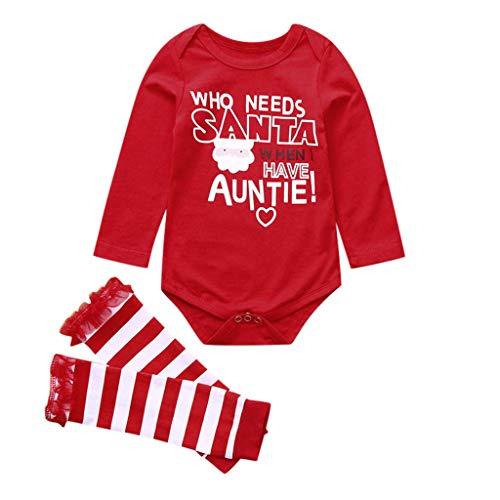 KINGWani ❤ Baby Baby Weihnachten Santa Letter Strampler Body + gestreifte Bein wärmer Outfits