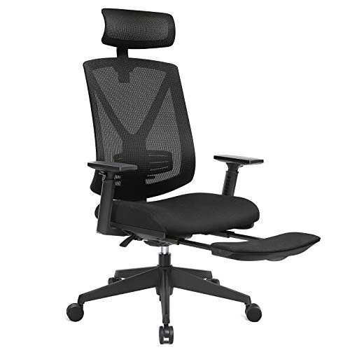 SONGMICS Ergonomischer Bürostuhl mit Fußstütze, Schreibtischstuhl mit Lordosenstütze, Verstellbare Kopfstütze und Armstütze, Höhenverstellung und Wippfunktion, Bis 150 kg Belastbar, schwarz OBN61BK -