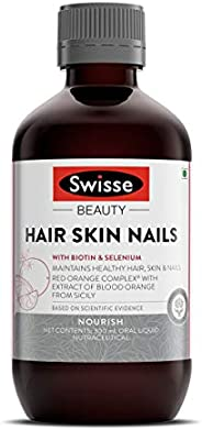 Swisse Ultiboost Hair, Skin and Nails Liquid Supplement with Blood Orange Extract, Biotin and Selenium for Hai