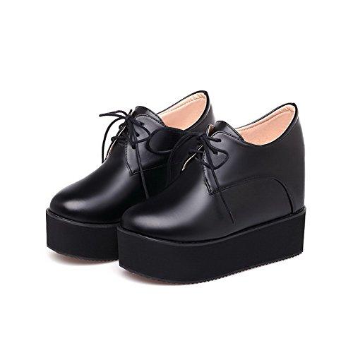 AgooLar Femme Lacet à Talon Haut Pu Cuir Couleur Unie Rond Chaussures Légeres Noir