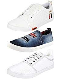 Ethics Perfect White Premium Sneaker Shoes Combo Pack Of 3 For Men