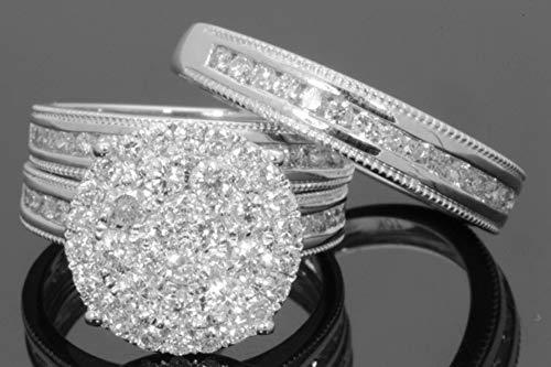 ZUXIANWANG Ring weiblich Big White Cz Ring Set Mode 925 voll Silber Schmuck Versprechen Ringe für Frauen, 9.