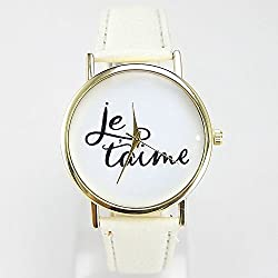 2015 New Fashion Watches Women Je taime Romantic Elegant Casual Watch Leather Strap Watch Clock Quartz Women Watch Wristwatch