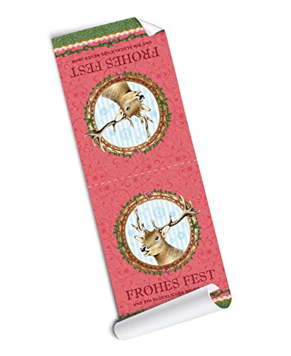 '4 Sleeves Large: 4 Self Adhesive Fastener Labels with Lovingly Illustrated Deer Christmas Advent Calendar Christmas Gifts •