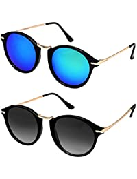 Y&S Men's Wayfarer and Aviator Sunglasses Combo (Black and Blue) - Pack of 2
