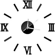 NectaRoy 3D Romano Números Acrílico espejo Reloj para Decoración DIY Reloj Stickers Home Decal (Negro)