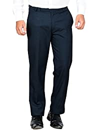 Mangal Men's Dark Blue Regular Fit Formal Trouser