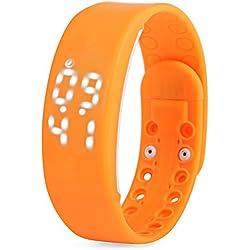 Leopard Shop TVG KM i - YOUTH Sport Wristwatch Multifunctional Unisex LED Digital Watch Calendar Magnetic Temperature Detecting Orange