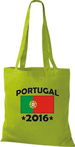 ShirtInStyle Stoffbeutel Baumwolltasche Portugal 2016 Ländertasche, Farbe Pink kiwi